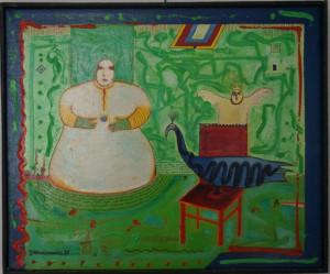 Kawalerowicz Jacek -1952 Varsovie – 1988 New-York¬huile sur toile de lin, 38x45.5, 1983-Fr. 2'700.-
