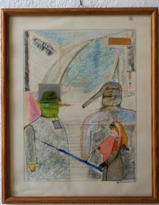 Kawalerowicz Jacek -1952 Varsovie – 1988 New-York-  dessin et aquarelle- 52x41- 1983-Fr. 1'800.-
