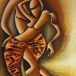 11. Pascal Bushayija-Les Danseurs-acryl-sciure du bois blanc-écorce du ficus-80x50cm-Fr.850.-