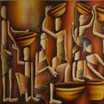 12. Pascal Bushayija-marché du nord-acryl-sciure du bois blanc -umusave-écorce du ficus-50x80cm-Fr.850.-