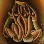 15. Pascal Bushayija-Adoration-acryl-sciure du bois blanc-umusave-50x70cm-Fr.750.-