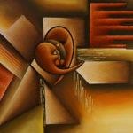 18. Pascal bushayija-Bisou-acryl-sciure du bois blanc et rouge-50x70cm-Fr. 750.-