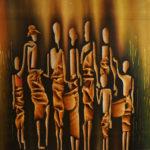 20. Pascal Bushayija-Coopération-acryl-sciure du bois blanc -umusave-écorce du ficus-50x70cm-Fr. 750.-
