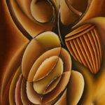 21. Pascal Bushayija-danse tournoyante-écorce du bois blanc -umusave-et du bois rouge-ribuyu-70x50cm-Fr.750.-
