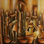 23. Pascal Bushayija-Femmes au marché-acryl-sciure du bois blanc-50x70cm-Fr.750.-