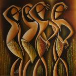 26. Pascal Bushayija-Jeunes Filles-acryl-sciure du bois blanc-écorce du ficus-50x70cm-Fr.750.-