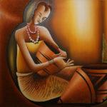 27. Pascal Bushayija- La Vanière-acryl-sciure du bois rouge-écorce du ficus-70x90cm-Fr 1'200.-