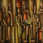 28. Pascal Bushayija-les négociateurs-sciure du bois blanc-umusave-écorce du ficus-50x70cm-Fr.750.-