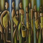 29. Pascal Bushayija-Rencontre-acryl-sciure du bois blanc-umusave-50x70cm-Fr.750.-