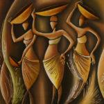30. Pascal Bushayija-rue du marché-acryl-sciure du bois blanc-écorce du ficus-50x70cm-Fr.750.-
