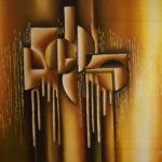 32. Pascal Bushayija-Solidarité-acryl-sciure du bois blanc-50x70cm-Fr. 750.-