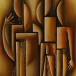 35. Pascal Bushayija-L'unité-acryl-sciure du bois blanc-70x50cm-Fr. 750.-