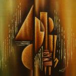 41. Pascal Bushayija-Complémentarité-acryl-sciure du bois blanc-écorce du ficus-30x45cm-Fr. 420.-