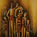 44. Pascal Bushayija-Famille-acryl-sciure du bois blanc-écorce du ficus-30x45cm-Fr. 420.-