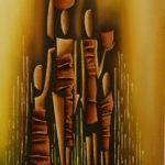 45. Pascal Bushayija-Famille au marché-acryl-sciure du bois blanc-écorce du ficus-45x30cm-Fr.420.-