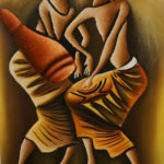 46. Pascal Bushayija-Harmonie-acryl-sciure du bois blanc-écorce du ficus-45x30cm-Fr.420.-