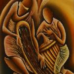 47. Pascal Bushayija-Joueurs de cithare-acryl-sciure du bois blanc et du bois rouge-écorce du ficus-45x30cm-Fr.420.-