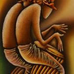 48. Pascal Bushayija-Jumeaux musiciens-acryl-sciure du bois blanc-écorce du ficus-45x30cm-Fr.420.-