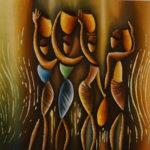 49. Pascal Bushayija-Porter les Pots-acryl-sciure du bois blanc-écorce du ficus-40x35cm-Fr.420.-