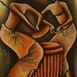 50. Pascal Bushayija-Rythme-acryl-sciure du bois blanc-écorce du ficus-45x30cm-Fr.420.-