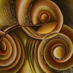 6. Pascal Bushayija-acryl-sciure du bois blanc et du bois rouge-60x90cm-Fr.950.-