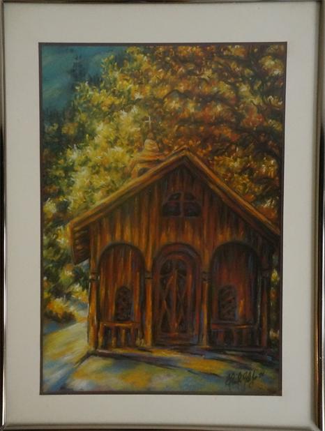 Claudine Gelitzer - la chapelle de l'Evi - 1992 - 1994 - craie pastel - 40x30 cm - estimation Fr. 300