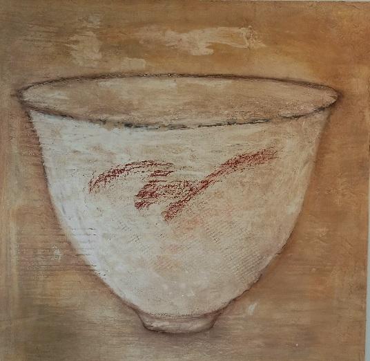 Christiane Putallaz (1947) œuvre en terre (bol) sur panneau de bois, 2001, 90x88x0.5 cm (exposition à la Schürra en 2001) estimation Fr. 1'700