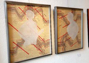 Taddé BENI - BIEN encre sur journal avec sable 53 x 48 cm Fr. 450