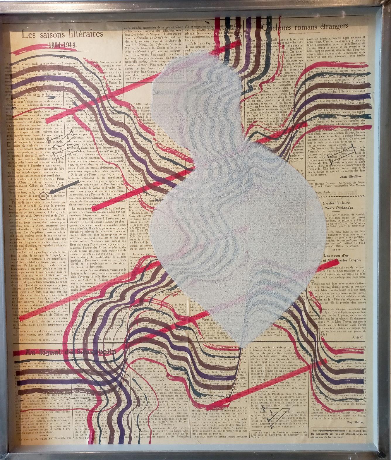 Taddé MAI - AMI encre sur journal avec sable 53 x 48 cm Fr. 450
