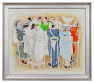 Augusto Monti (1942 -Milan) « Personaggi a tavola » Huile s/toile de lin – 60x70 cm – 2002 Estimation Fr. 1'500